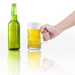 Hand take a glass of beer