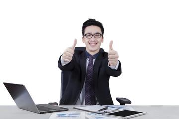 Happy caucasian business leader