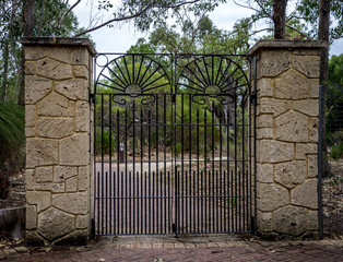 Scenic forged gate entrance in Yanchep National Park
