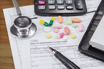 Health insurance claim form with drugs
