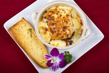 lasagna with bread