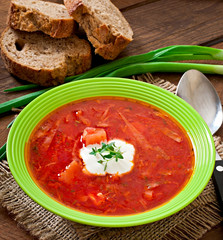 Traditional Ukrainian Russian vegetable borscht soup
