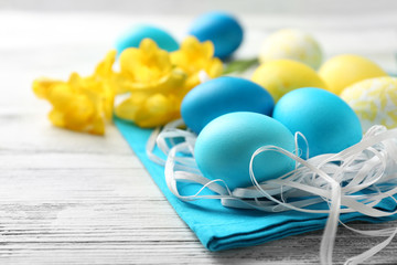 Easter composition with colorful eggs