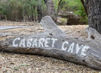 Carved entrance Cabaret Cave sign in Yanchep National Park