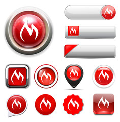 Flames icon, fire button