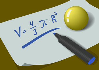 Ball and marker on the sheet of paper