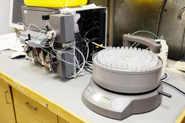 Rack of test tubes on automatic fraction collector