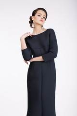 Glam. Luxurious Fashion Model in Black Dress