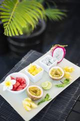 mixed fresh tropical fruit platter