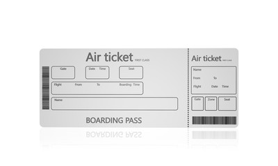 Airline boarding pass tickets on a white background