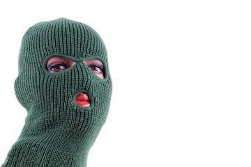 Green balaclava mask on manikin's head