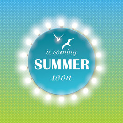 Summer time background with text and light bulbs.