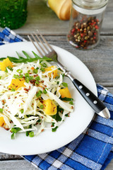 coleslaw and orange on a white plate