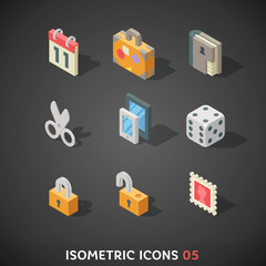 Flat Isometric Icons Set 5
