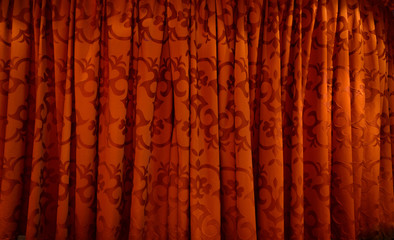 Red pattern curtain