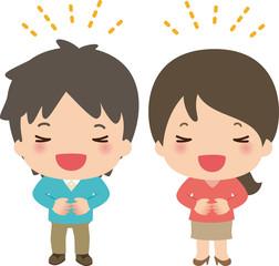 声を出して笑い男性と女性