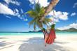 Frau liegt in der Hängematte am Strand