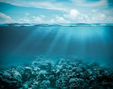 Sea or ocean underwater deep nature background poster
