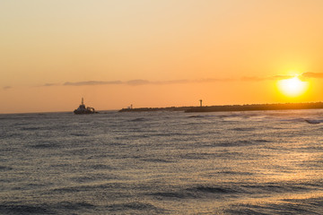 Ocean Sunrise Ship Coastline