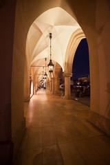Sukiennice Colonnade at Night in Krakow