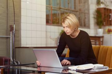 studentin arbeitet zuhause am notebook