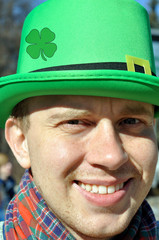 Smiling guy during St Patrick's day party