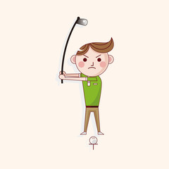 person character golfers theme elements