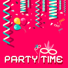 Retro Party Time Vector Flat Design Illustration with Confetti
