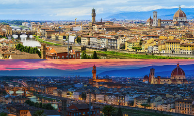 Florence city panorama during the day and at sunset. Panoramic v