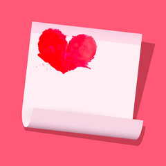Red Vector Heart on Paper Sheet on Pink Background
