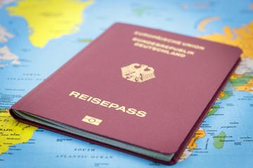 German Passport on a world map