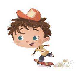 niño corriendo con patin