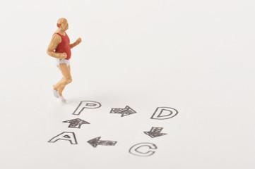 ダイエットの為に走っている太った男性