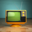 Leinwandbild Motiv Retro vintage tv on green background. Television concept.