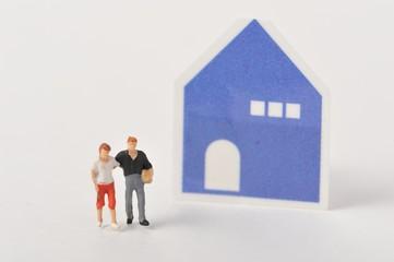 青い家と親子