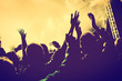Concert, disco party. People with hands up in night club. - 79828048
