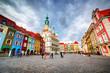 Leinwanddruck Bild - Poznan, Posen market square, old town, Poland. Town hall
