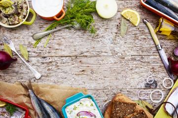 Herring - salad, preparation background