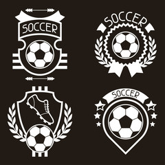 Set of sports labels with soccer football symbols.