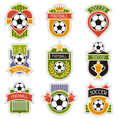 Set of sports illustrations soccer football badges.