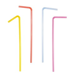 Set colorful plastic bent drinking straws isolated on white