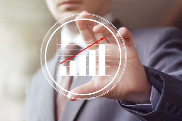 Man with chart business icon diagram
