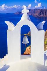 church bell in Oia village, Santorini island, Cyclades, Greece