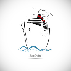 Sea cruise on the ship. Vector illustration.