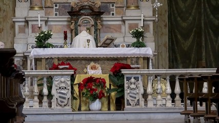 Church Service at the Roman Catholic church. Rome