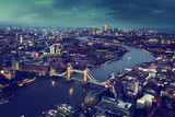 Fototapeta London aerial view with Tower Bridge, UK