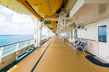 Empty Deck of Cruise Ship with Chairs
