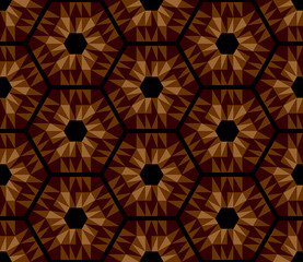 Mosaic brown hexagons seamless texture.
