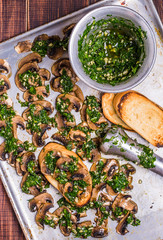 Baked mushrooms with chimichurri