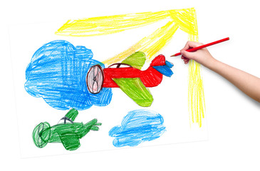 retro airplanes. children drawing